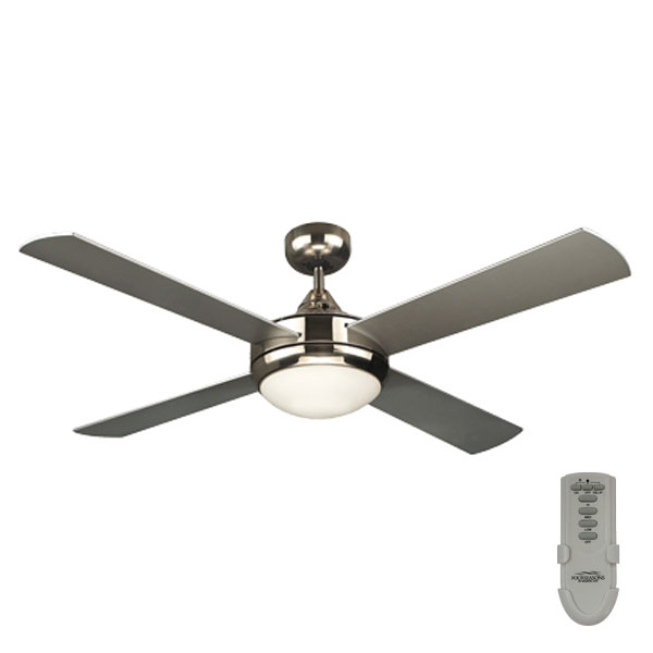 Primo Ceiling Fan With Light and Remote In Brushed Nickel 48u0026quot;