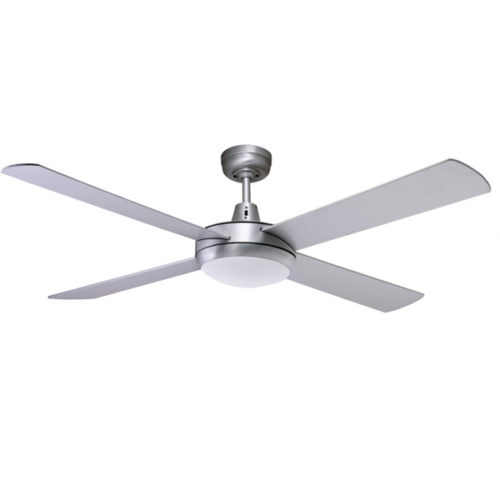 brushed aluminium urban ceiling fan with light
