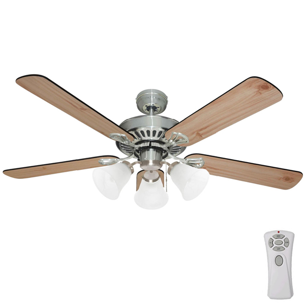 Mercator hayman ceiling fan with light and remote in brushed chrome hayman ceiling fan with light aloadofball Choice Image