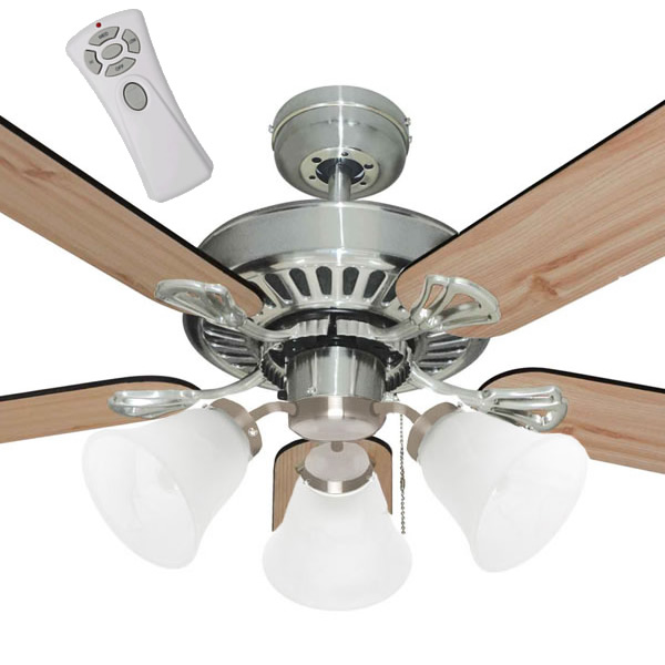Mercator Hayman Ceiling Fan With Light And Remote In Brushed Chrome