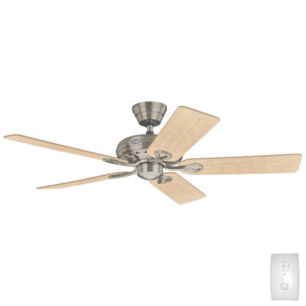 Hunter savoy ceiling fan with remote brushed nickel 52 savoy ceiling fan with wall control by hunter brushed nickel aloadofball Image collections
