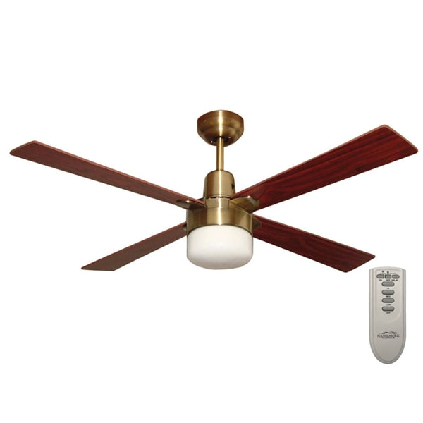 Martec Alpha Ceiling Fan With Light And Remote Antique Brass