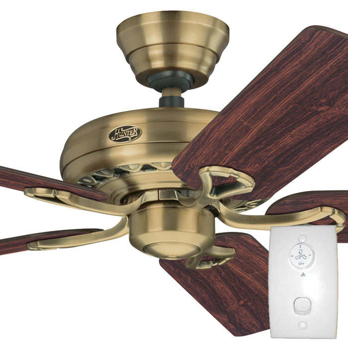 Hunter savoy ceiling fan with wall control antique brass 52 for Hunter ceiling fan motor