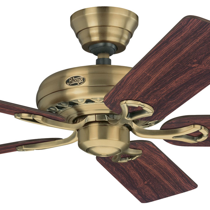Hunter Savoy Ceiling Fan - Elegant Design - Antique Brass 52u0026quot;