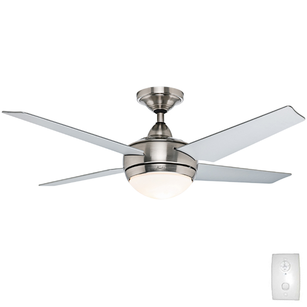 Hunter sonic ceiling fan with light brushed nickel finish 52 sonic ceiling fan mozeypictures Image collections