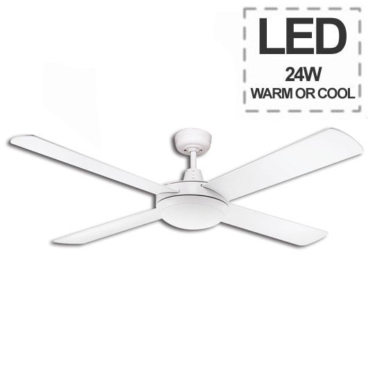 Lifestyle Ceiling Fan With LED 24w Light Martec Lifestyle In White