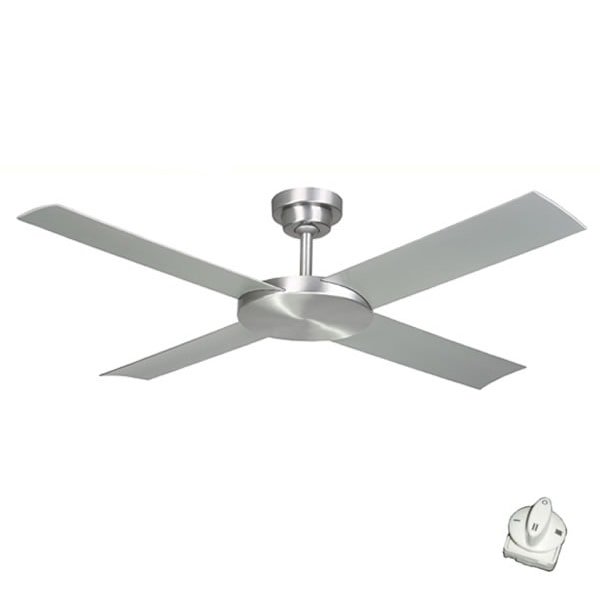 Outdoor ceiling fans outdoor cooling in alfresco patio areas revolution 2 ceiling fan with wall control by hunter pacific brushed aluminium 52 1left aloadofball Image collections