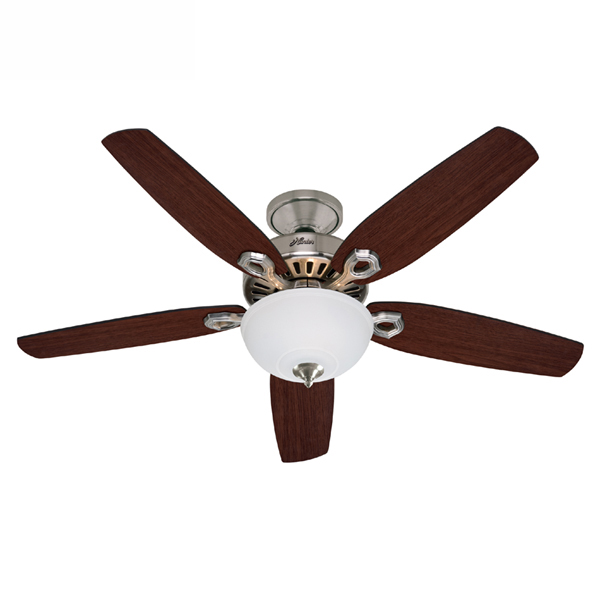 Hunter builder deluxe ceiling fan with light brushed nickel builder deluxe ceiling fan with light aloadofball Image collections
