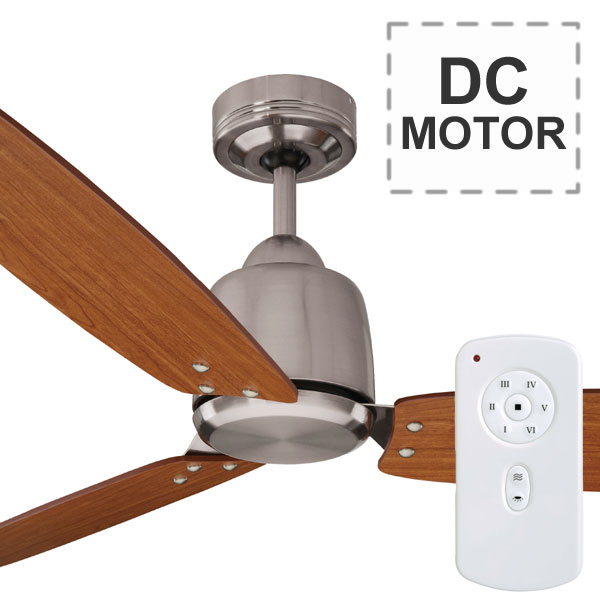 Rio ceiling fan remote plywood dc motor brushed chrome for Ceiling fan dc motor