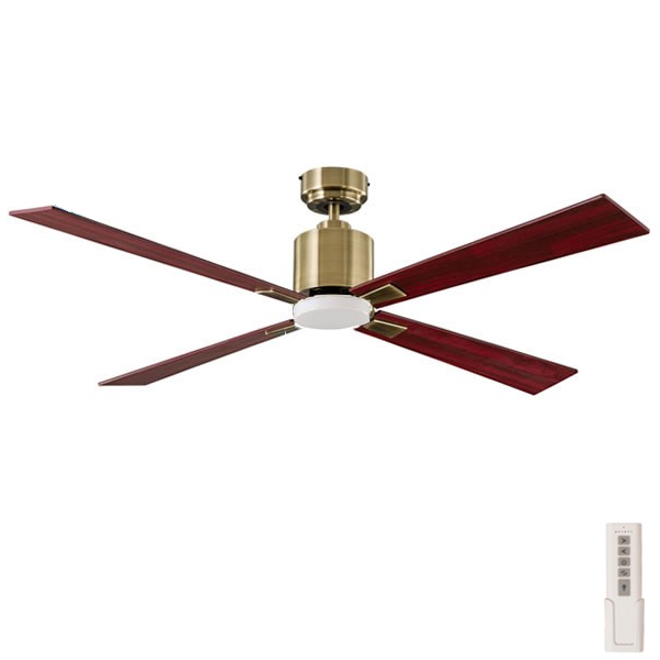 Quantum Ceiling Fan Dc Motor With Light Antique Brass 52