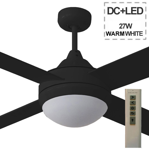 Cinni Milano DC Ceiling Fan with LED Light - Black in 52u0026quot;