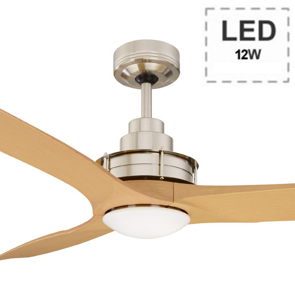Flinders ceiling fan led wall control 56 brushed chrome flinders ceiling fan with led light and wall control 56 brushed chrome motor maple timber pattern blades by mercator mozeypictures Gallery