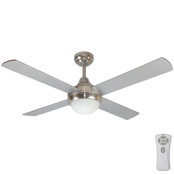 Mercator Glendale Ceiling Fan With Light And Remote 48 Quot Silver