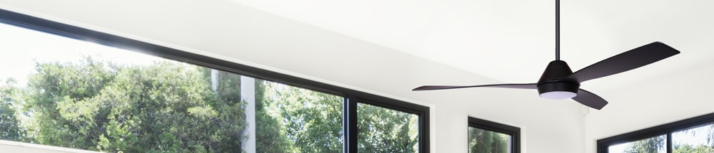 black ceiling fan with light