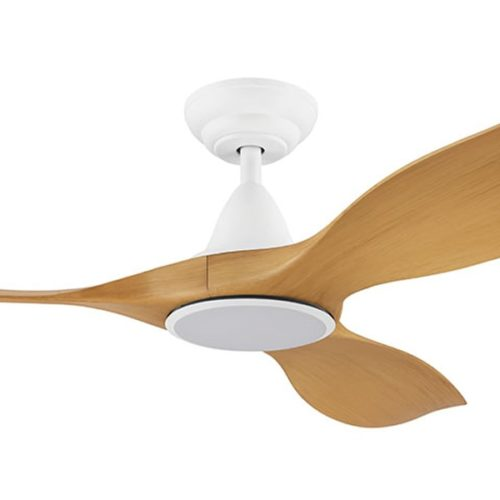 noosa dc ceiling fan with cct led white bamboo