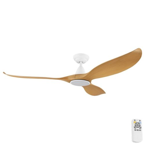 """Large Noosa DC Ceiling Fan White with Bamboo Blades 60"""""""